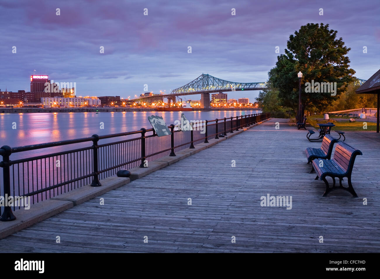 Island of Montreal and Jacques-Cartier Bridge as seen from St. Helen's Island at dawn, Quebec, Canada. - Stock Image