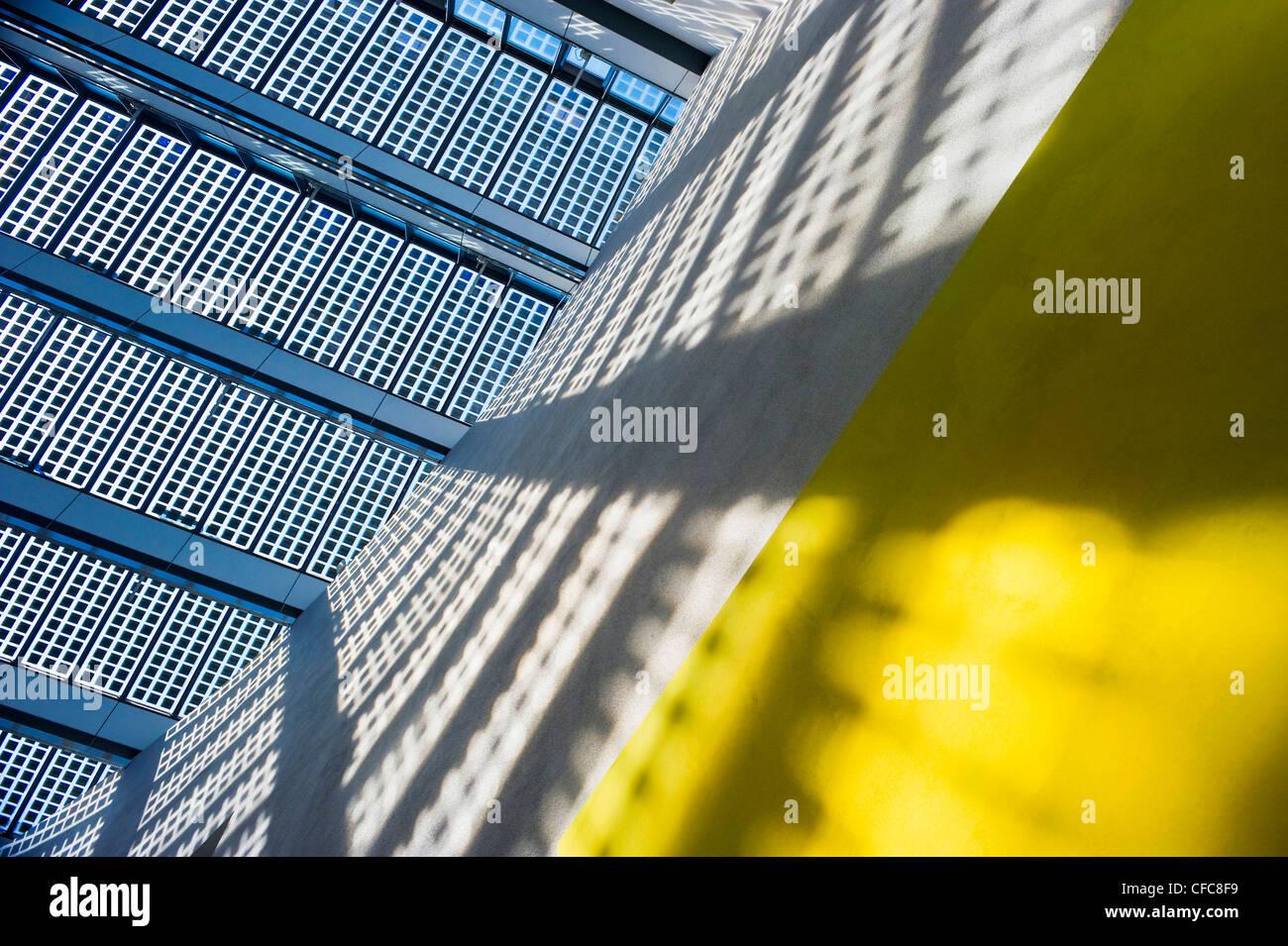 Solar installation on glass roof, Fraunhofer institute, Freiburg im Breisgau, Baden-Wurttemberg, Germany - Stock Image