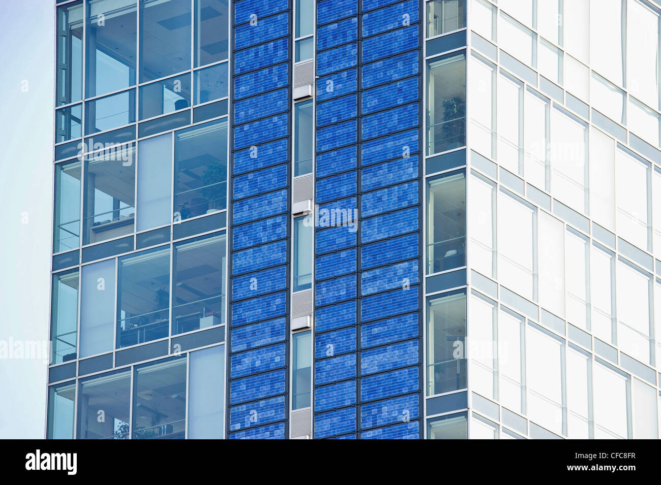 High-rise building with photovoltaic panels, Freiburg im Breisgau, Baden-Wurttemberg, Germany - Stock Image