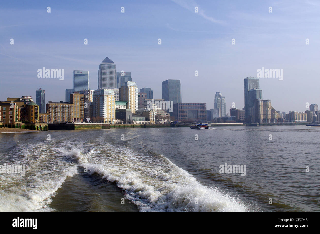 The view of Canary Wharf from river Thames - London, UK - Stock Image