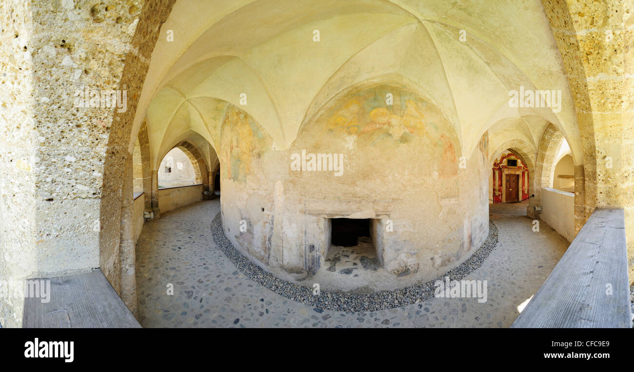Panorama of arcaded gallery at romanesque ossuary, Maria Saal, Carinthia, Austria, Europe - Stock Image