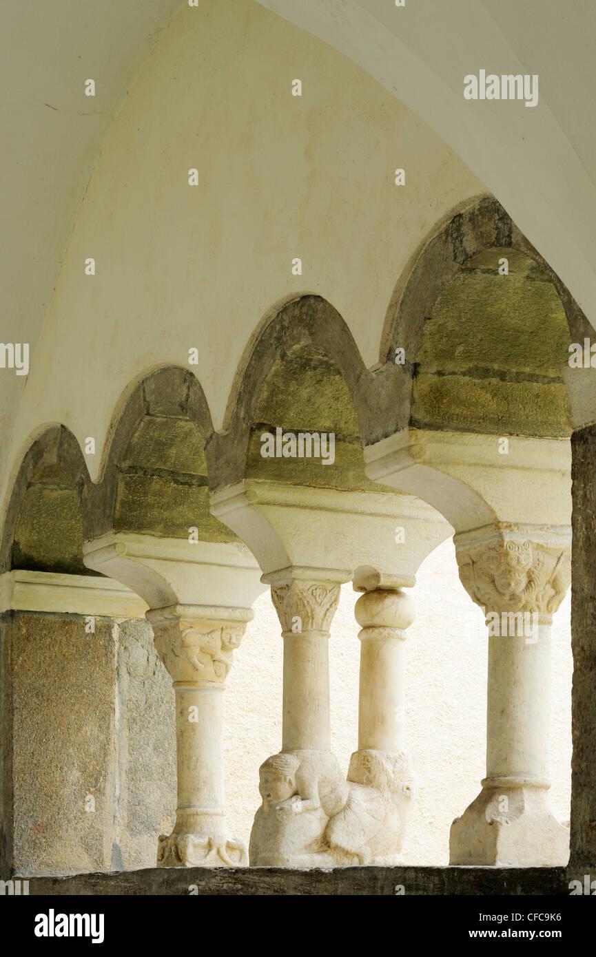Columns in cloister in convent Millstatt, Millstatt, lake Millstaetter See, Carinthia, Austria, Europe - Stock Image