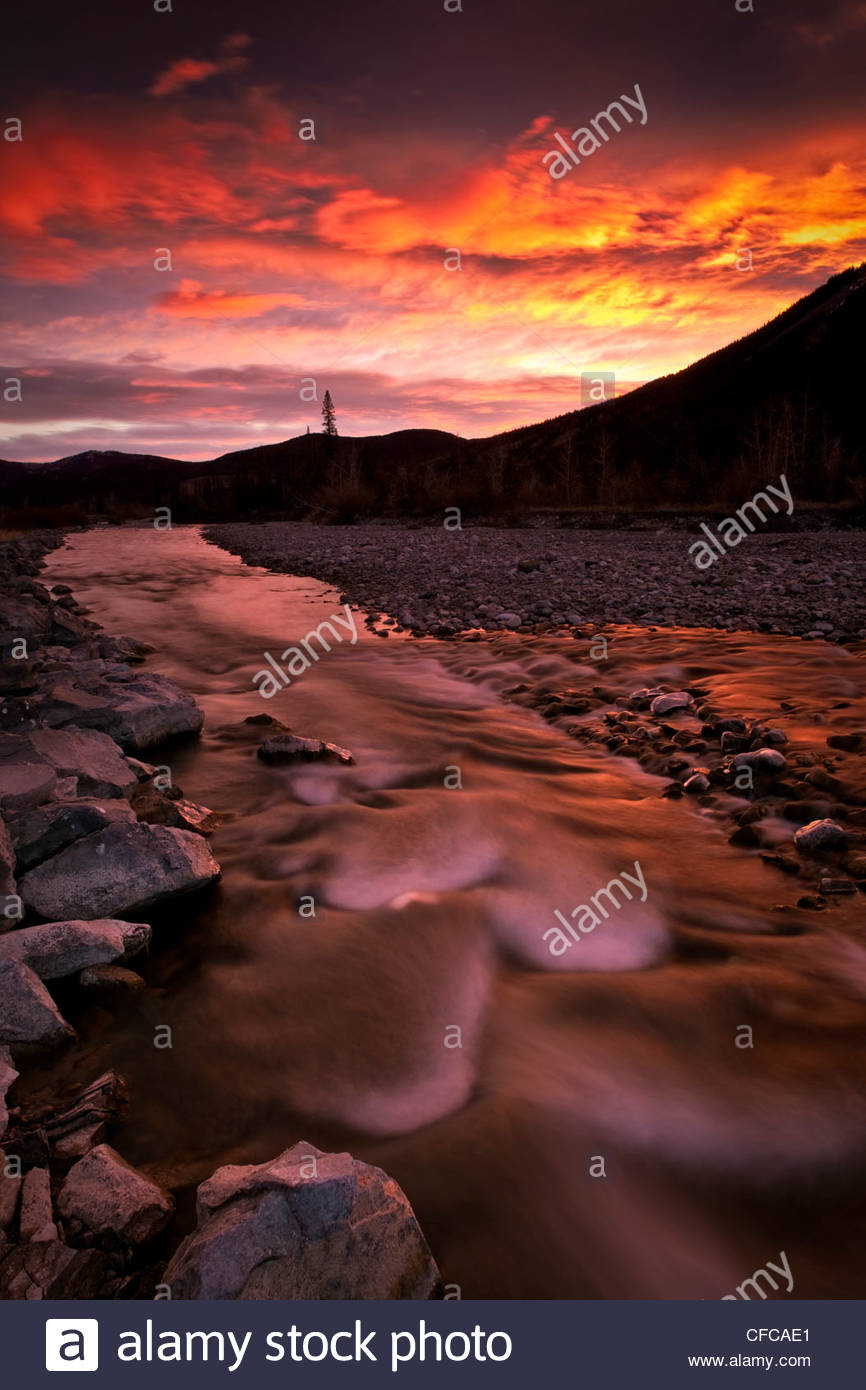 The Elbow River in the Elbow River Provincial Recreational Area, Alberta, Canada - Stock Image