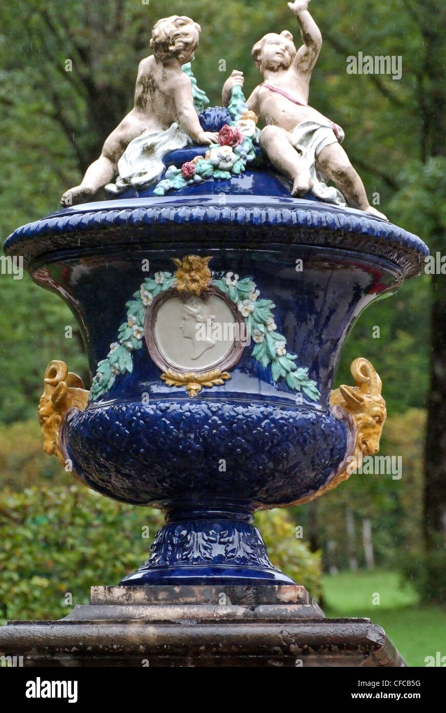 Germany, Linderhof castle, blue, vase, garden, park, decoration, Bavaria Stock Photo