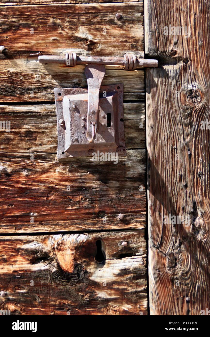 Bourg-Saint-Pierre, Valais, Switzerland, log cabin, old, door, wood, cabin, hut - Stock Image