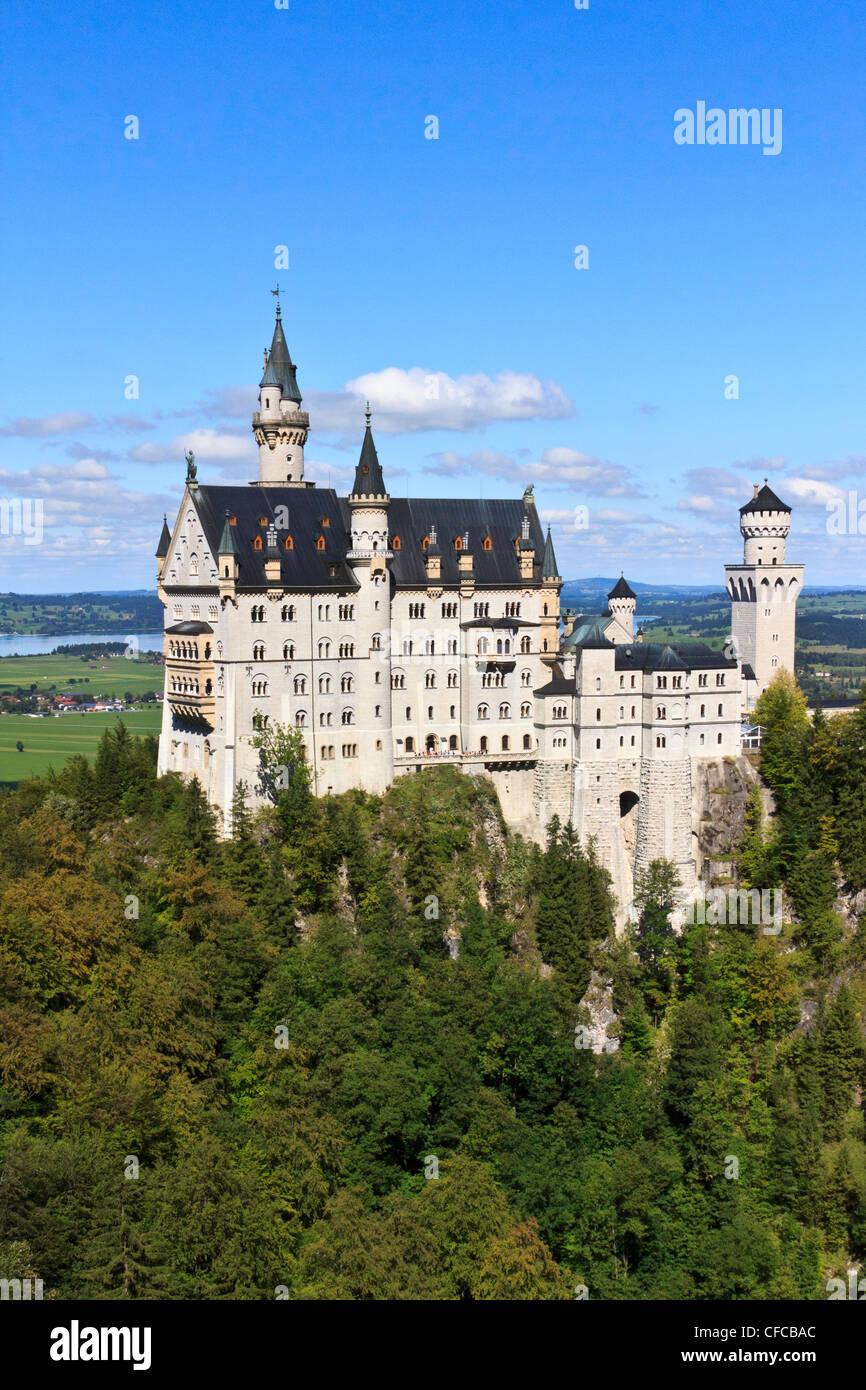 Germany, Ludwig II, Bavaria, Neuschwanstein, castle, Romanesque, Revival palace, Schwangau, Bavaria - Stock Image