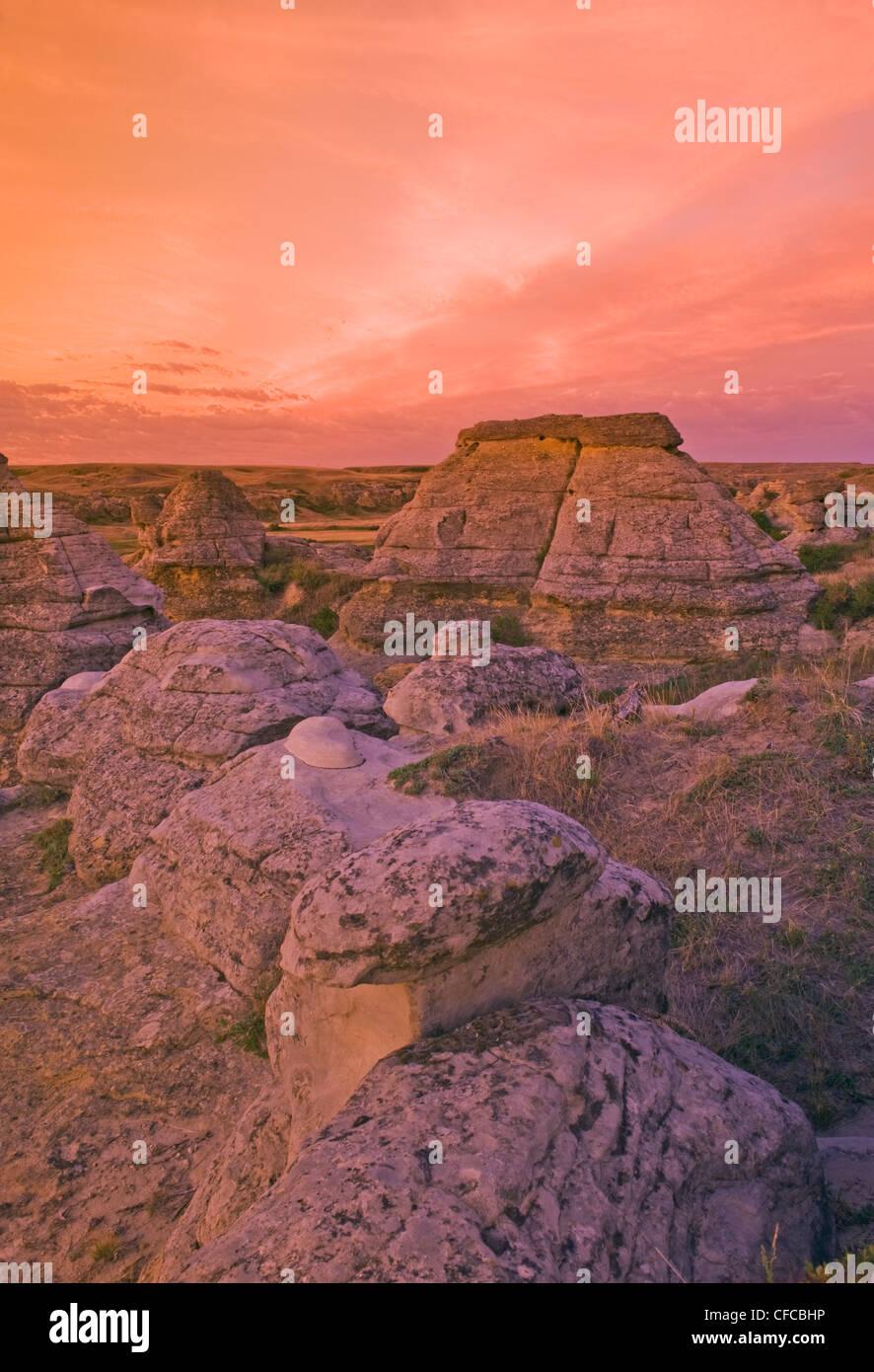 sunrise, Writing On Stone Provincial Park, Alberta, Canada - Stock Image