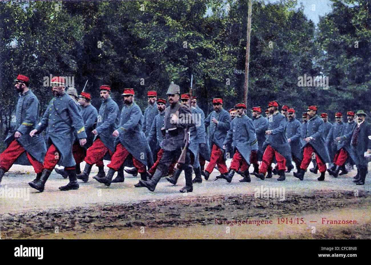 French, prisoners of war, German forest, 1914, soldiers, army, military, World War I, War, World War, Europe, 1914 - Stock Image