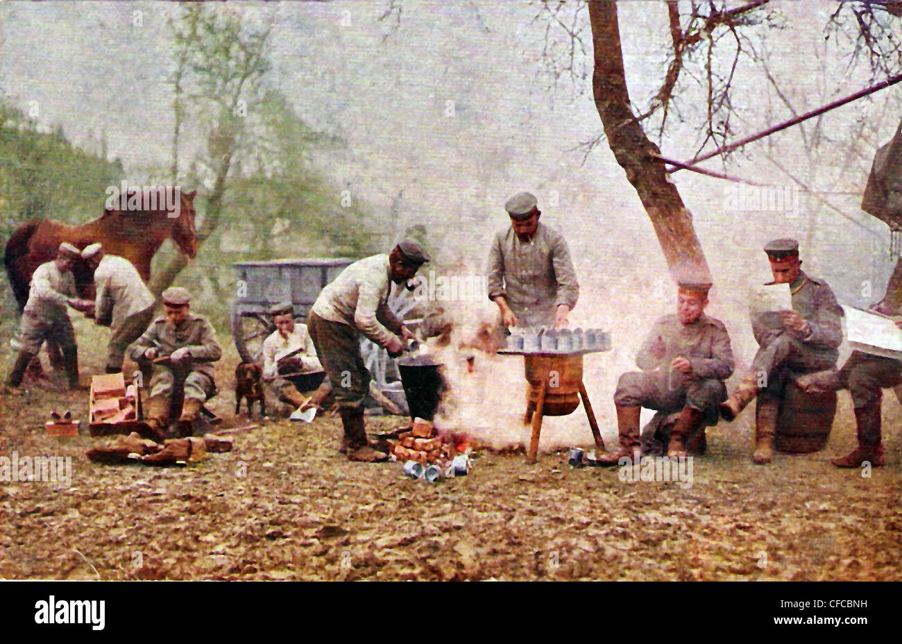 group, German, soldiers, army, military, horse, dog, camp, forest, Postcard, cooking, army, field kitchen - Stock Image
