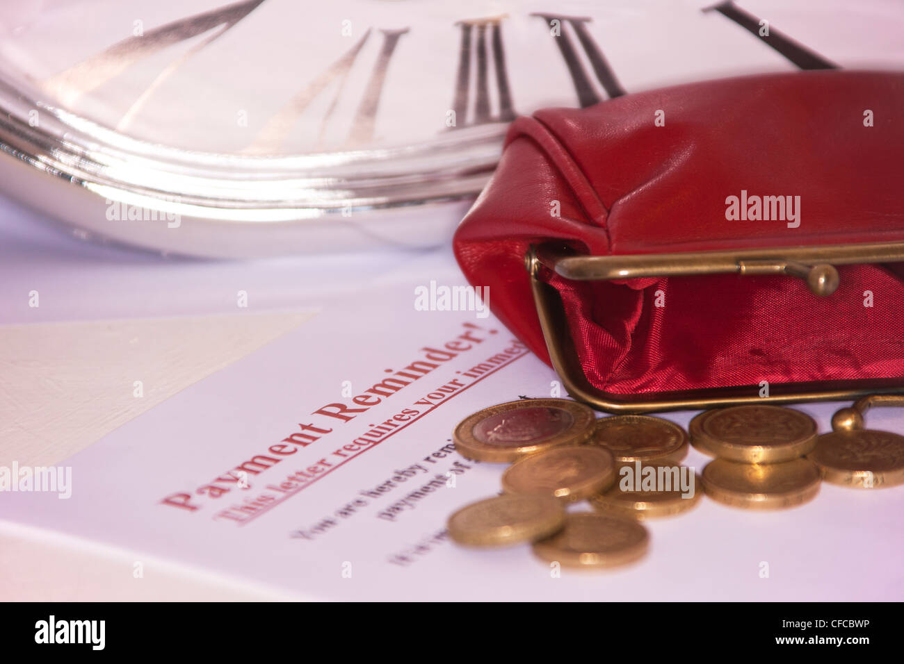 Financial concept, debt, payment, reminder, poor, empty purse. - Stock Image