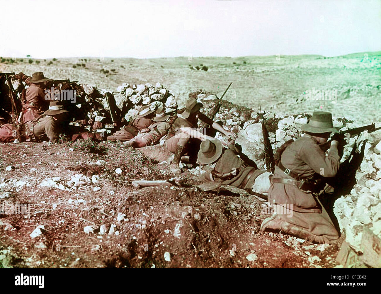 Soldiers, Australian, Light Horse, Regiment, front line, barricades, Nalin, Ottoman Empire, Middle East, World War - Stock Image
