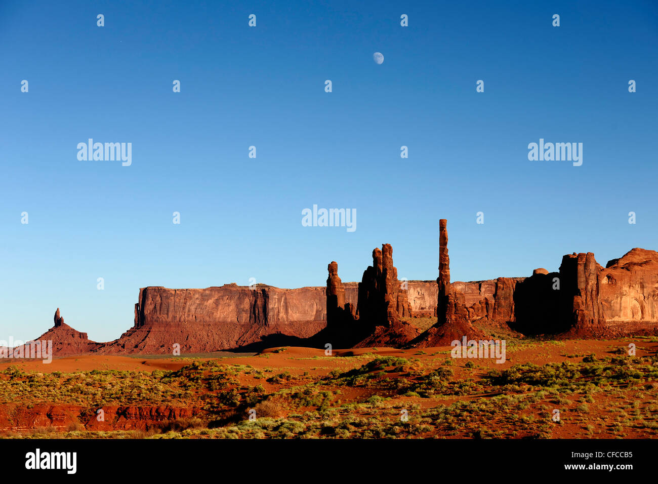 Needles, Sandstone formations, Totem pole, Yei Bi Chei, Monument Valley, Arizona, USA - Stock Image