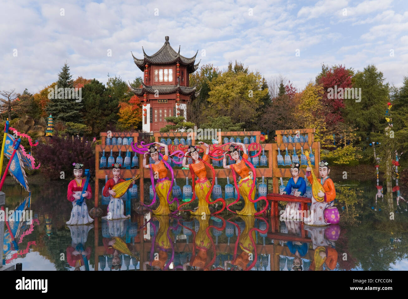 The Magic of Lanterns exhibit in the Chinese Garden in autumn Stock ...