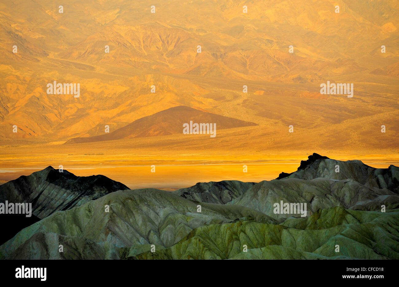 Zabriskie Point, Death Valley National Park, the hottest and driest of the national parks in the USA, California, - Stock Image