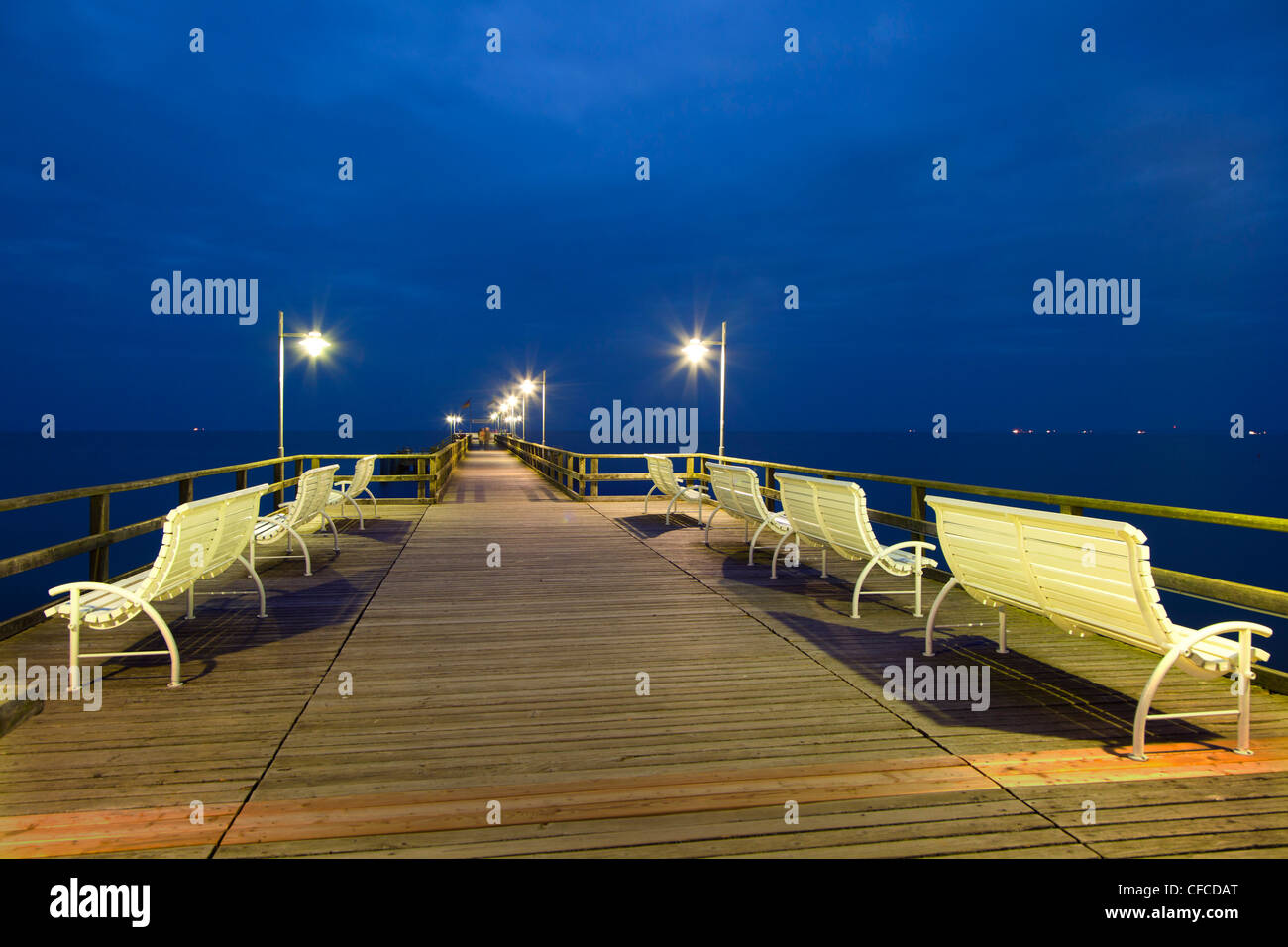 Benches on the pier in the evening, Bansin seaside resort, Usedom island, Baltic Sea, Mecklenburg-West Pomerania, - Stock Image