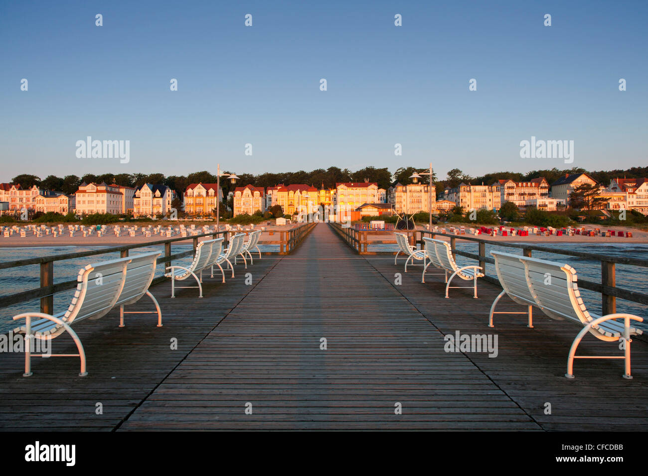 Benches on the pier, Bansin seaside resort, Usedom island, Baltic Sea, Mecklenburg-West Pomerania, Germany - Stock Image