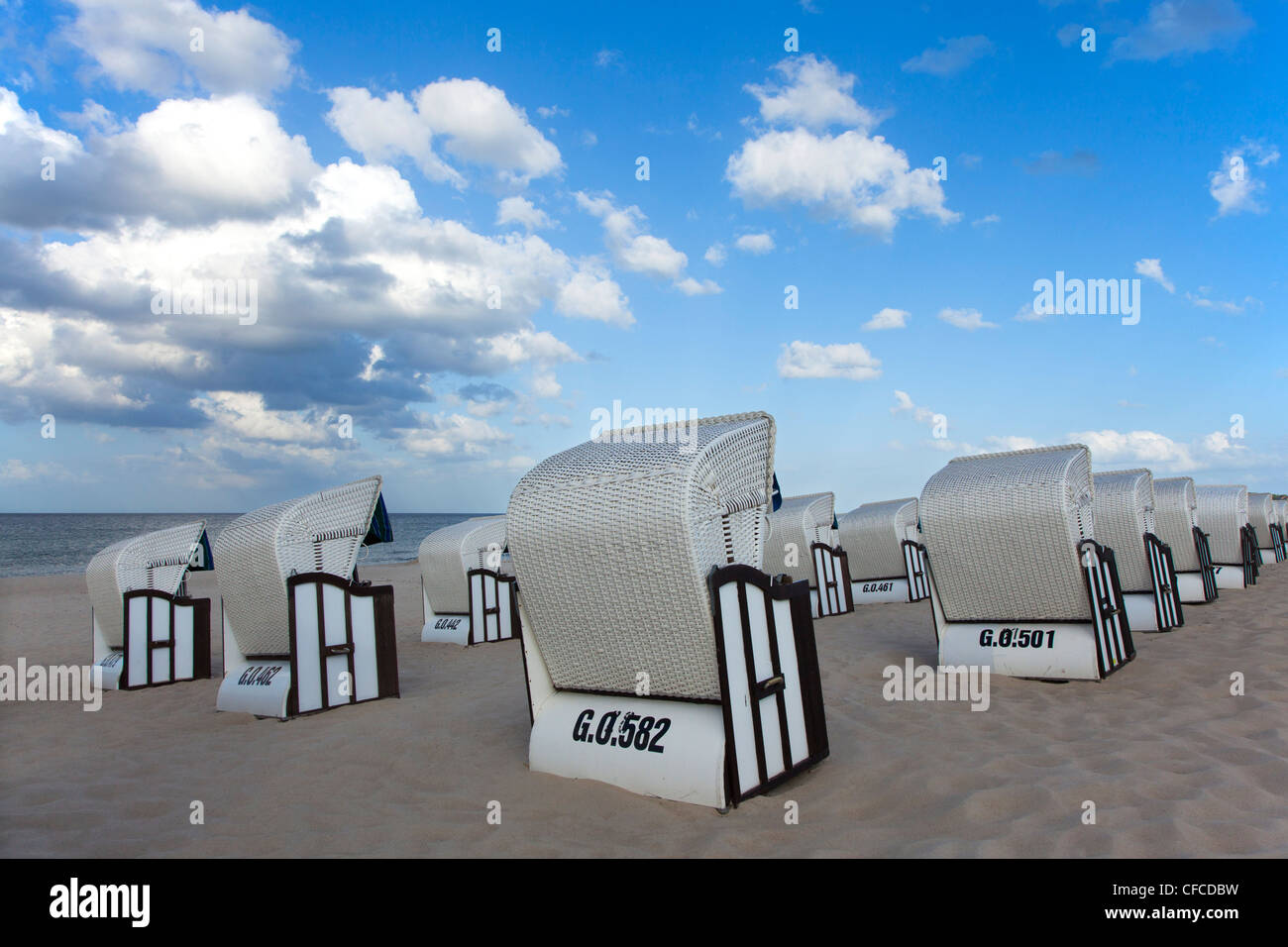 Beach chairs on the beach, Baabe seaside resort, Ruegen island, Baltic Sea, Mecklenburg-West Pomerania, Germany - Stock Image