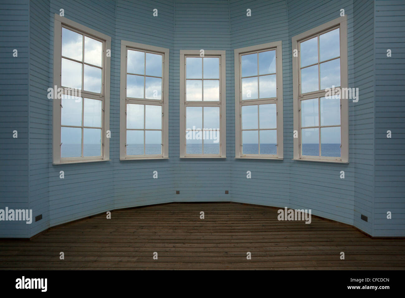 """Window to the sea"", Bansin seaside resort, Usedom island, Baltic Sea, Mecklenburg-West Pomerania, Germany - Stock Image"