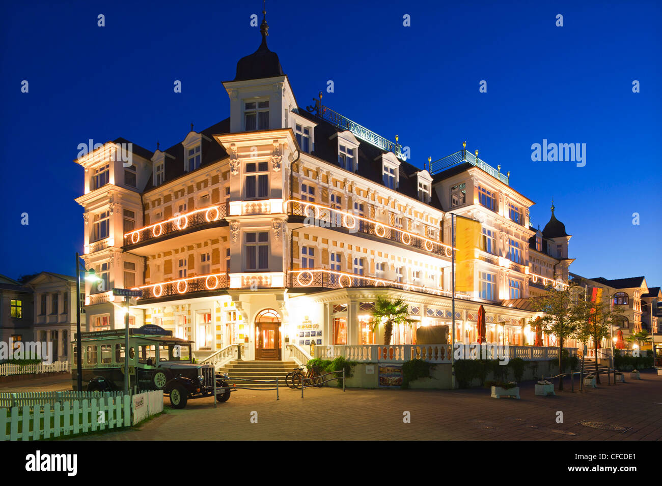 "Hotel ""Ahlbecker Hof"", Ahlbeck seaside resort, Usedom island, Baltic Sea, Mecklenburg-West Pomerania, Germany - Stock Image"
