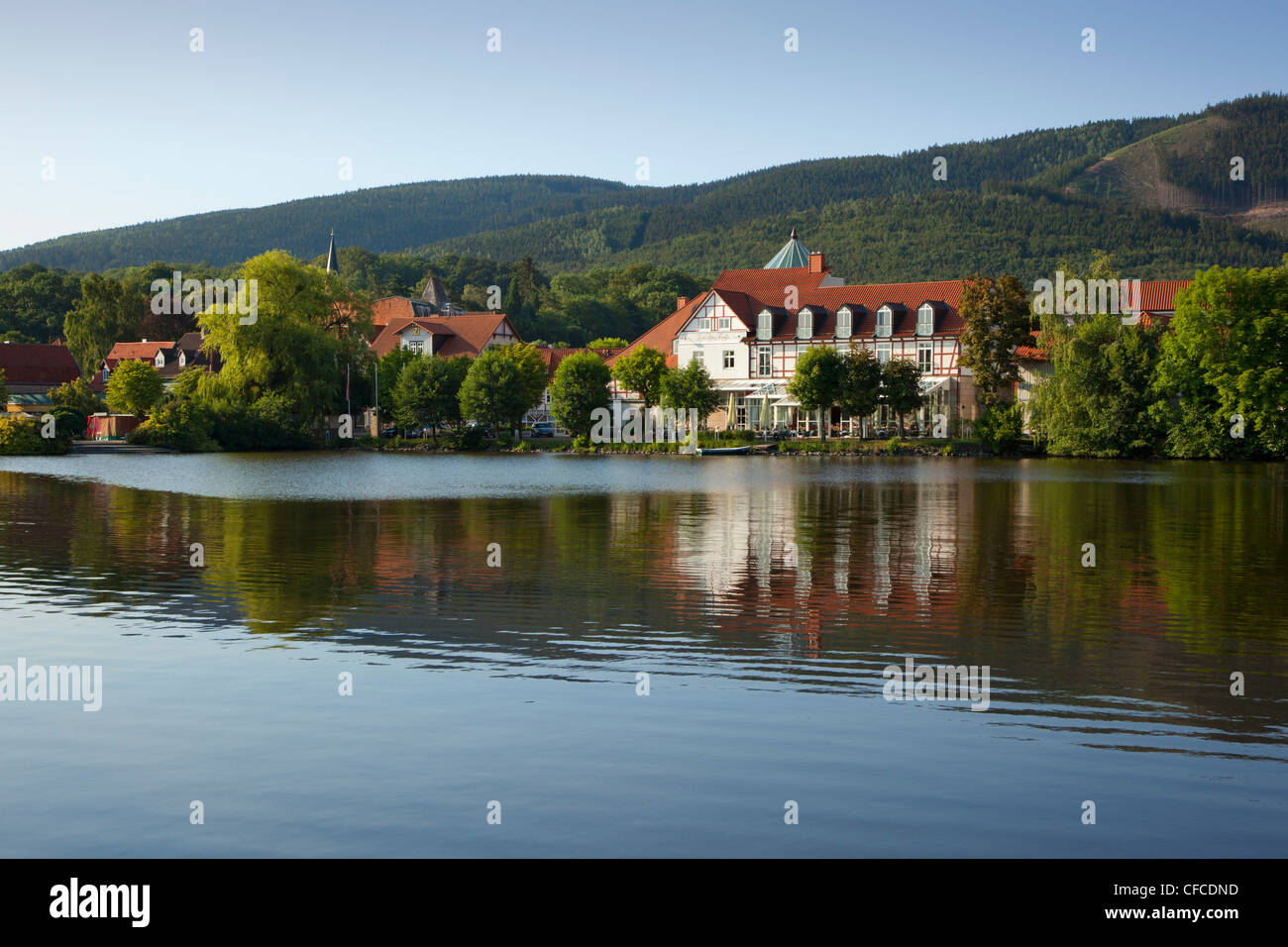 trout lake near hotel zu den rothen forellen ilsenburg harz stock photo 43914793 alamy. Black Bedroom Furniture Sets. Home Design Ideas