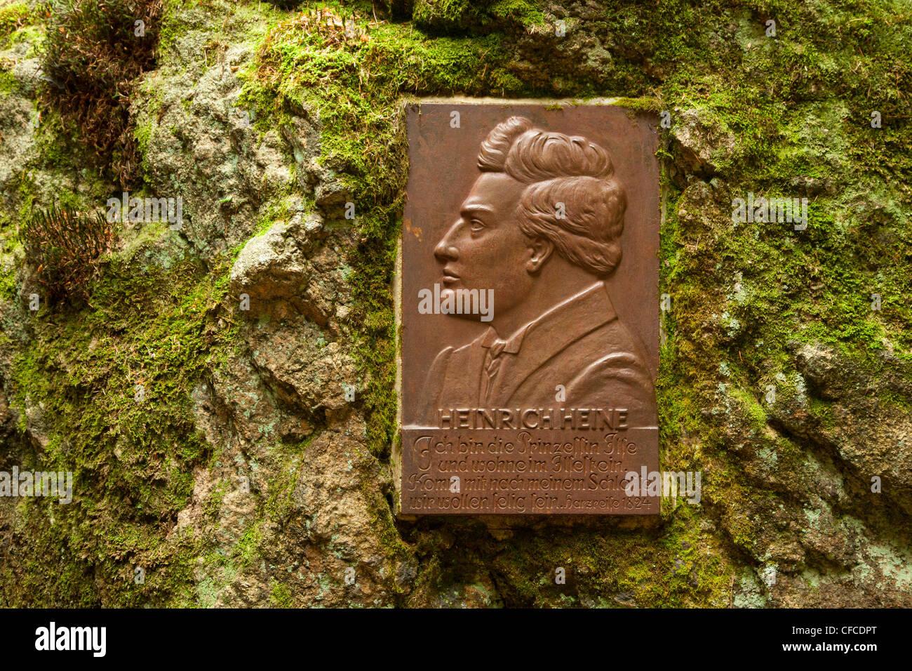 Plate with portrait and poem of Heinrich Heine, Ilse valley, Heinrich-Heine hiking trail, near Ilsenburg, Harz mountains, - Stock Image