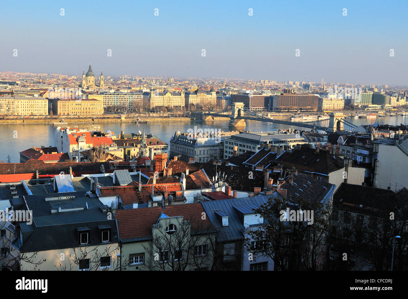From Castle hill Buda ditsrict , overlooking the Danube  Parliament Buildings and   Pest .Budapest. Hungary Stock Photo