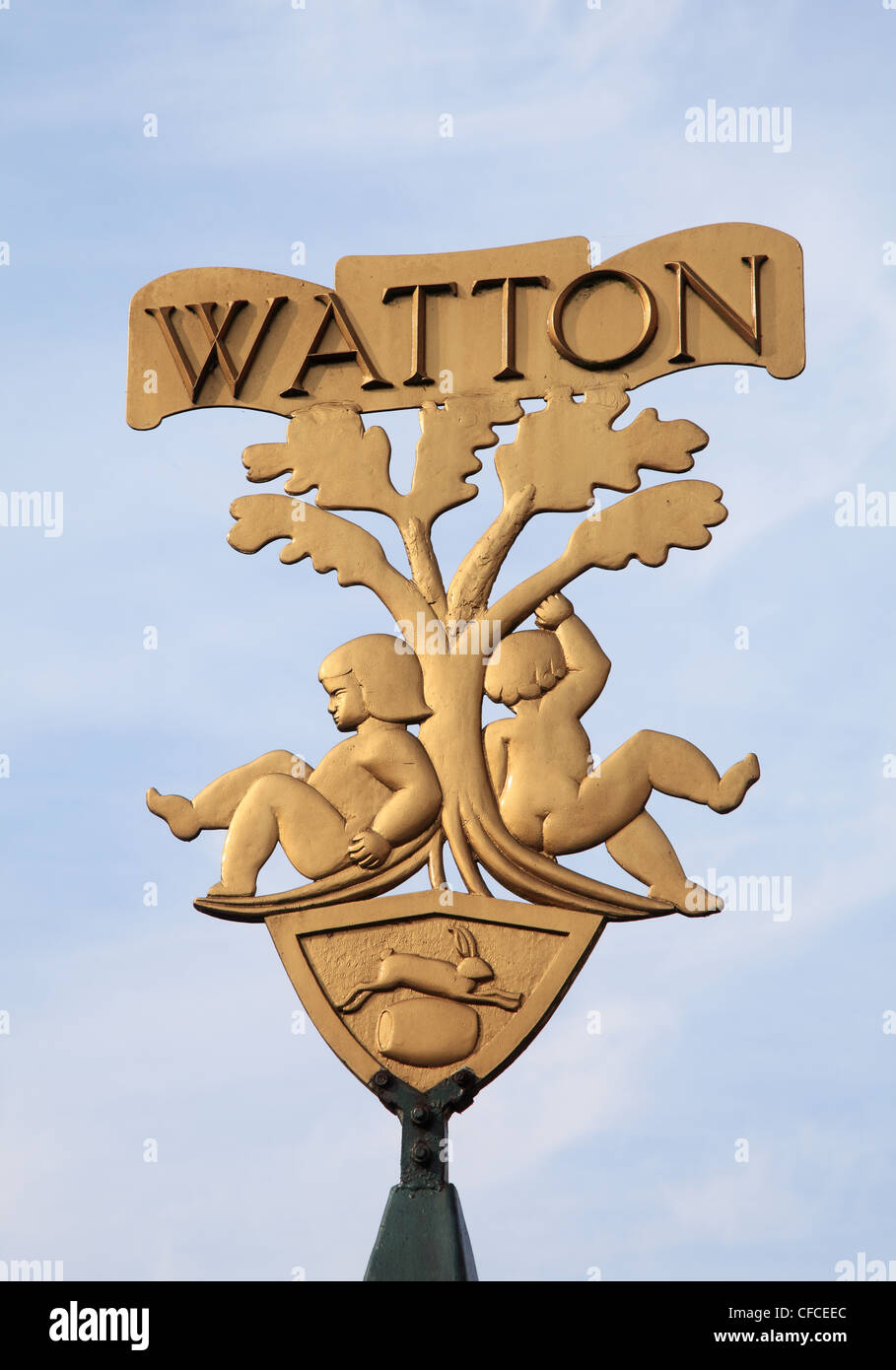 Watton Village guilded sign or crest Norfolk England UK - Stock Image