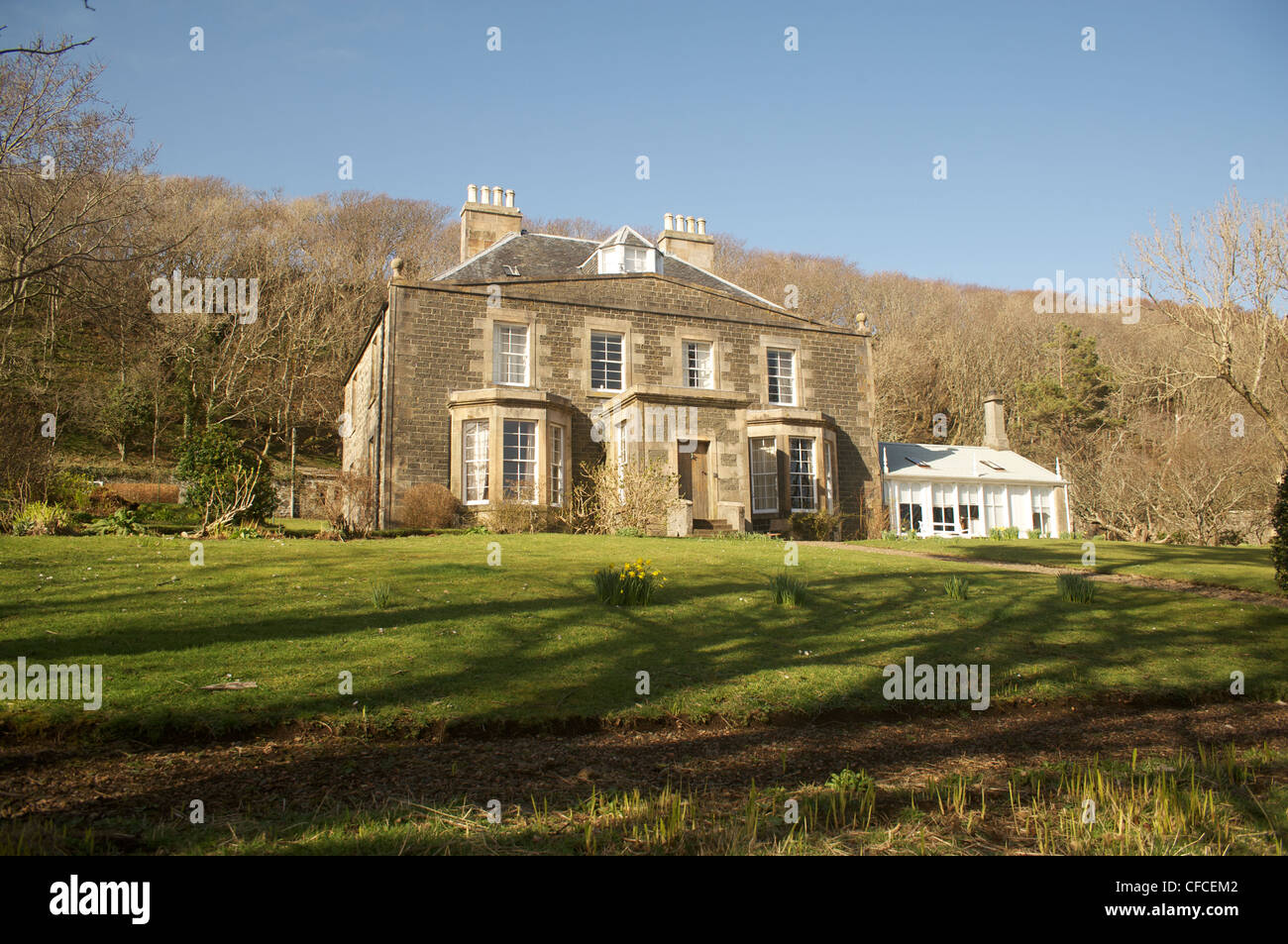 Canna House on the island of Canna in the Inner Hebrides off the west coast of Scotland. - Stock Image