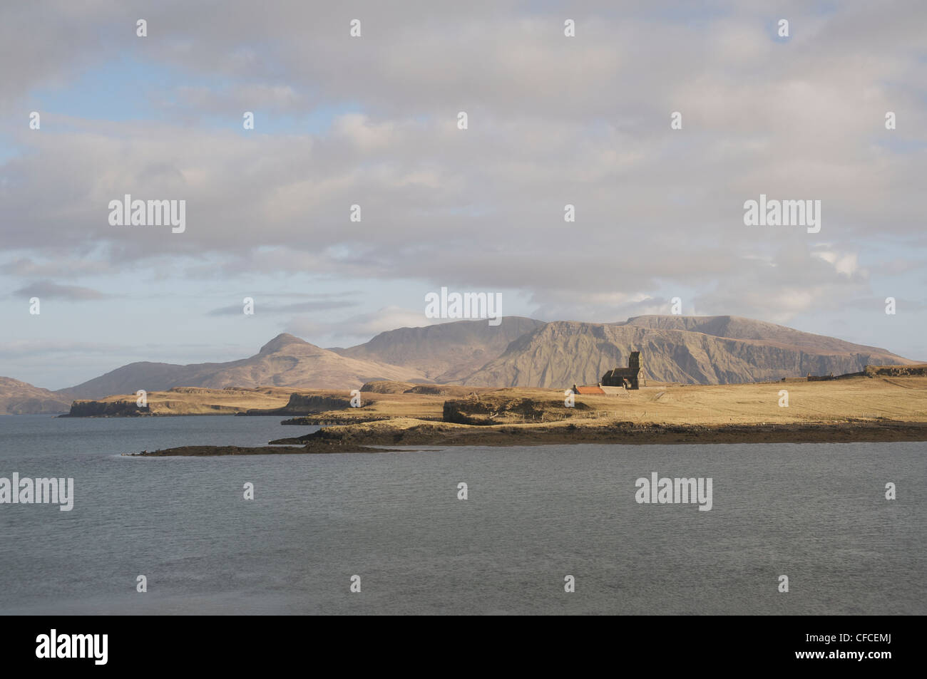 A view from Canna looking across Sanday with Rhum in the background - Stock Image
