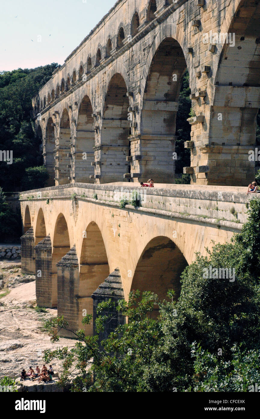 Famous Roman 50 klm long aqueduct ,The Pont Du Gard, crosses  the river Gard 21 klm from Nimes  in the -Languedoc - Stock Image