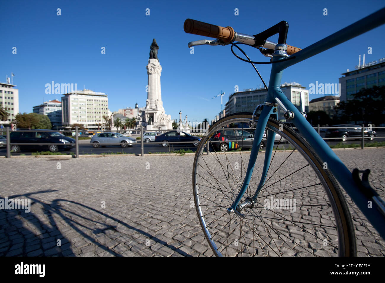 Bicycle in Lisbon city centre right next to Marques de Pombal and Avenida da Liberdade. - Stock Image