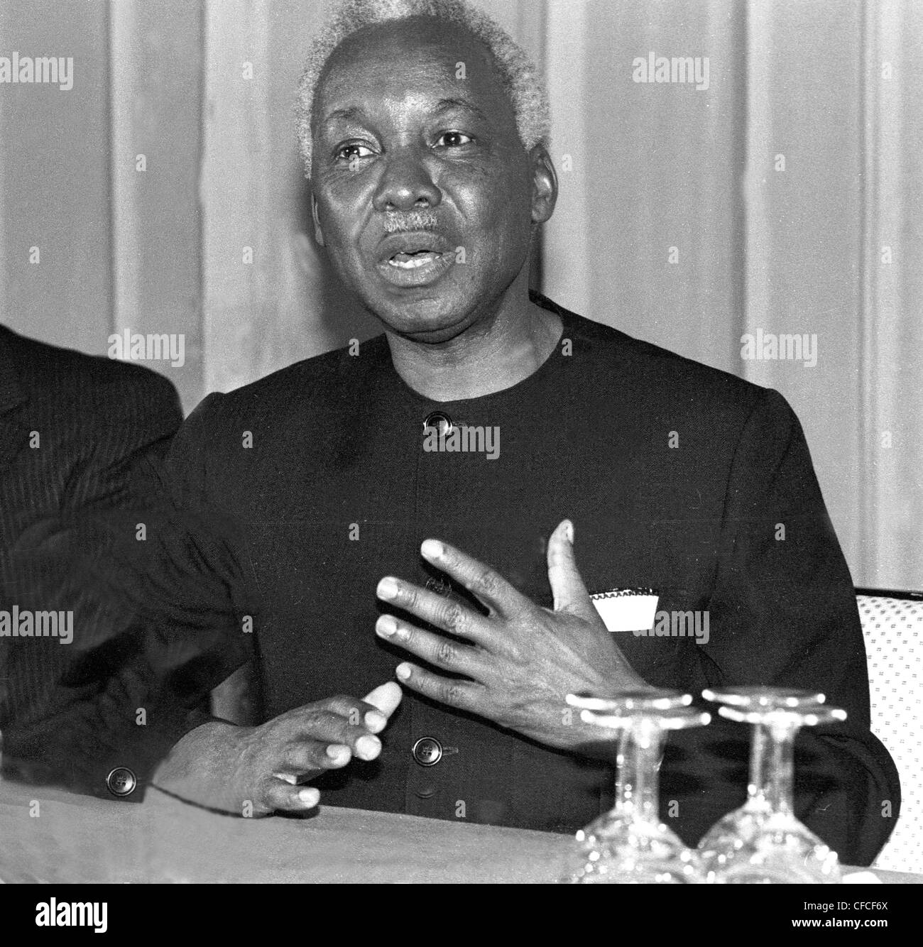 Tanzanian president Julius Narere talks to the press in London UK - Stock Image