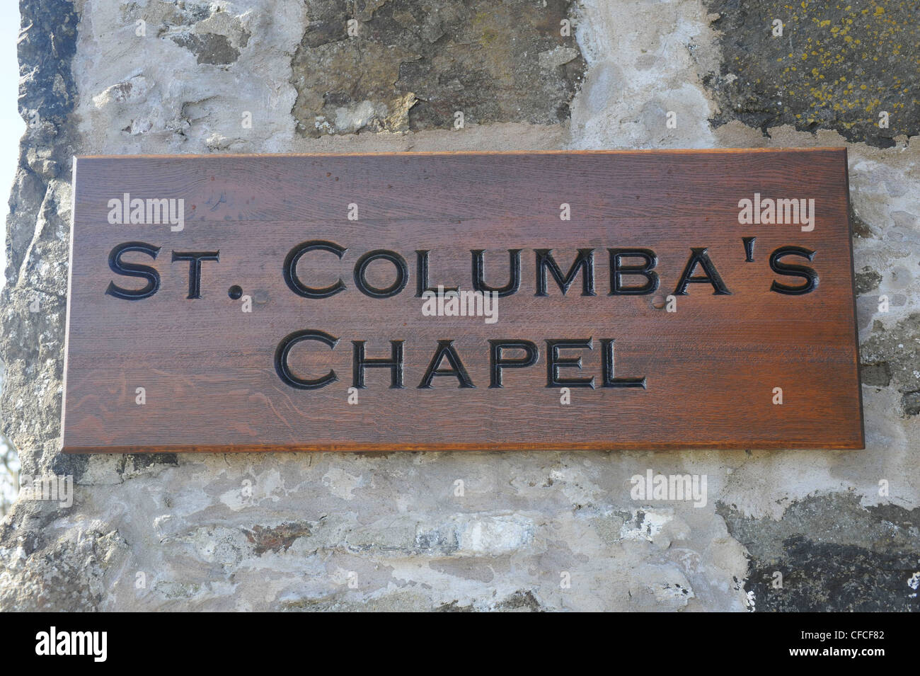 St Columba's Chapel sign. The Roman Catholic Church of St Columba on Canna, a small Island in the Inner Hebrides, - Stock Image
