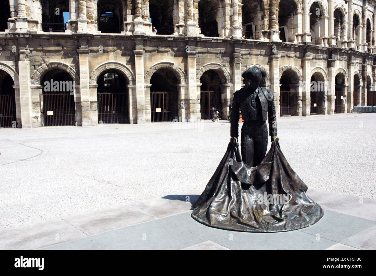 Bronze figure of a bullfighter in Nimes France - Stock Image