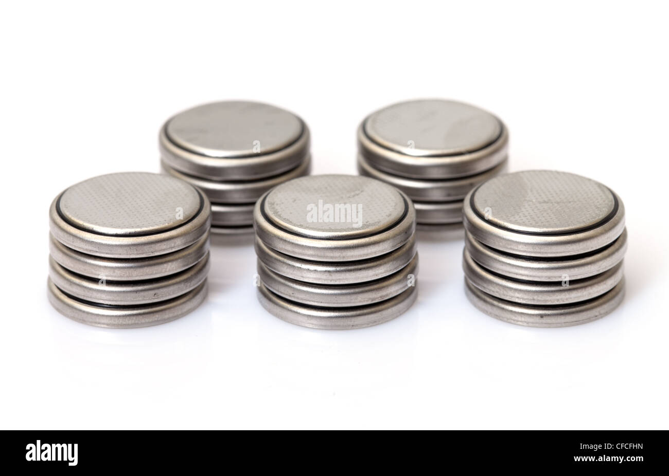 Coin Lithium batteries, on white background - Stock Image