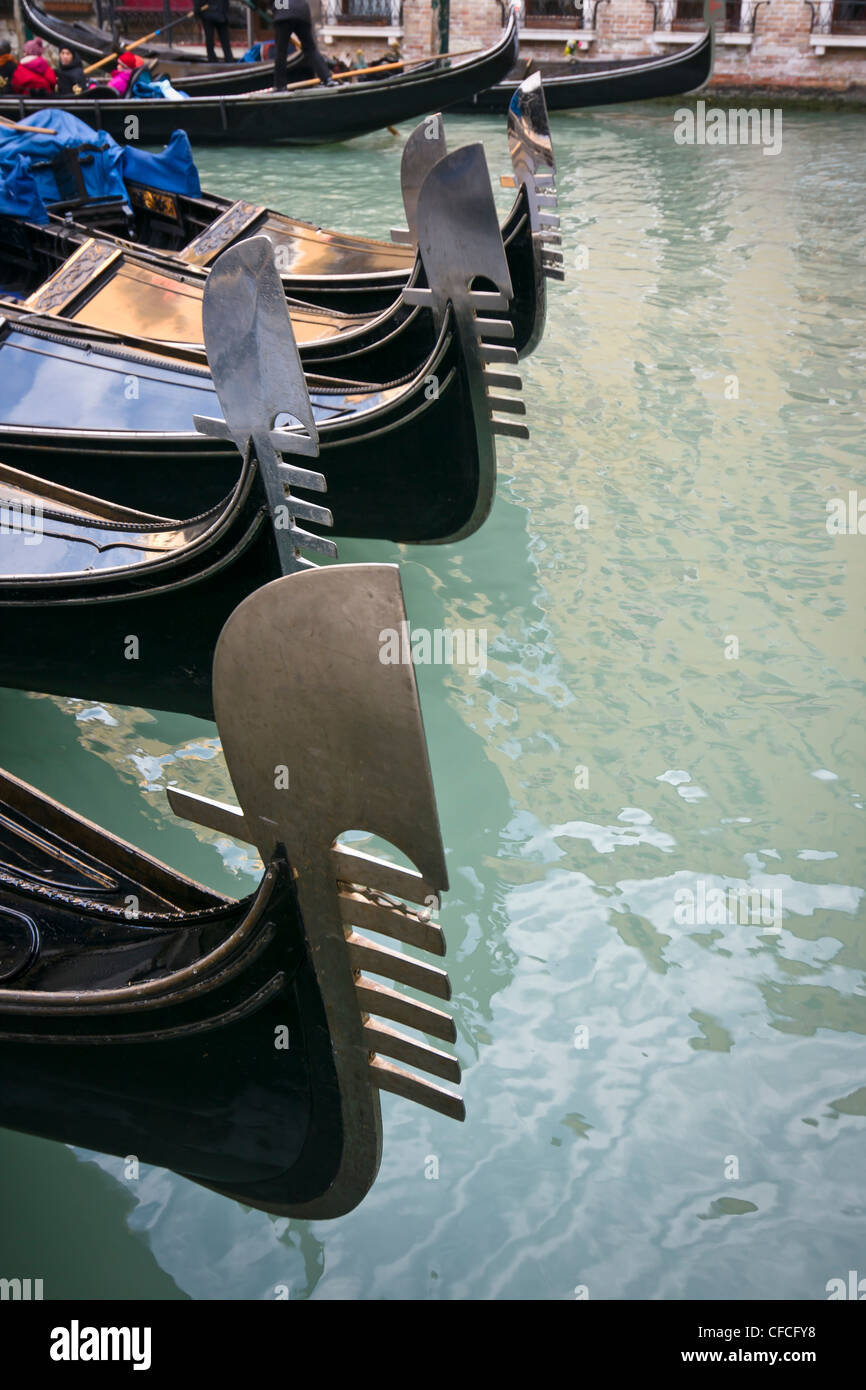 Gondolas moored at Bacino Orseolo - Venice, Venezia, Italy, Europe - Stock Image