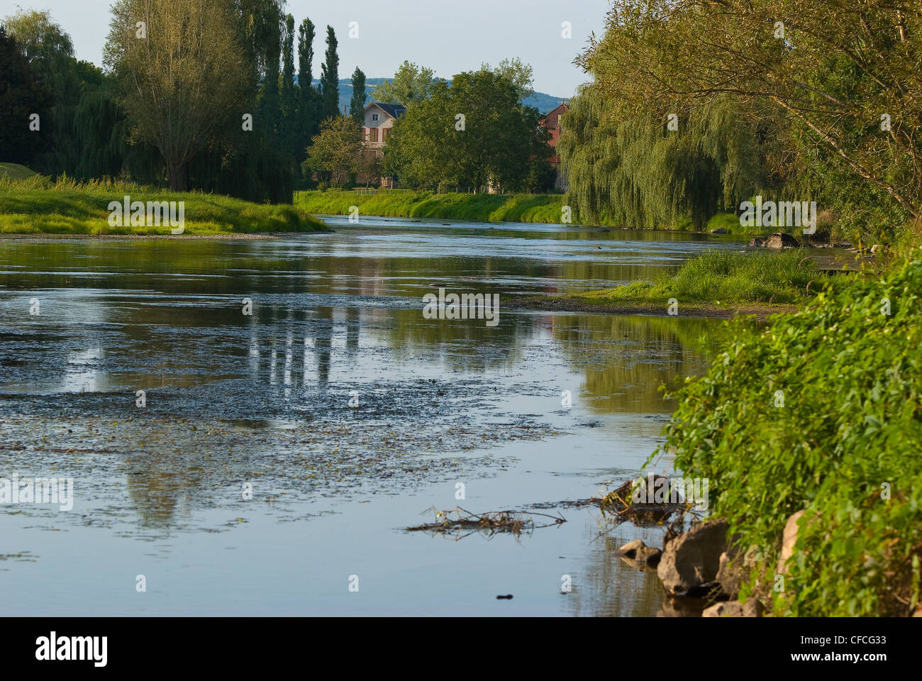 The Arroux is a river in central France, right tributary of the river Loire. - Stock Image