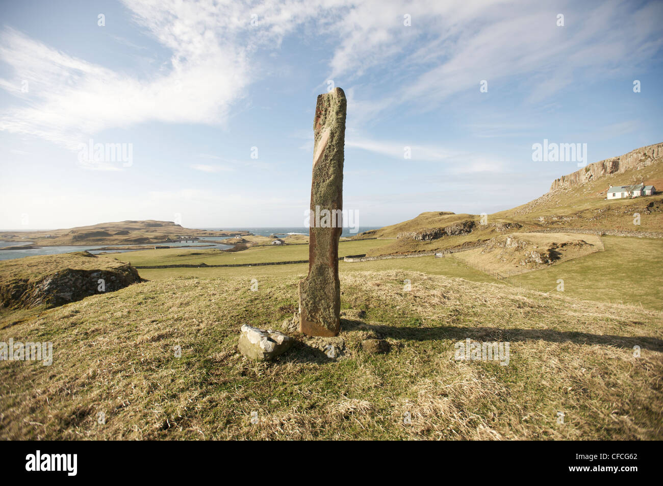 A standing stone on the island of Canna in the Inner Hebrides off the west coast of Scotland. - Stock Image