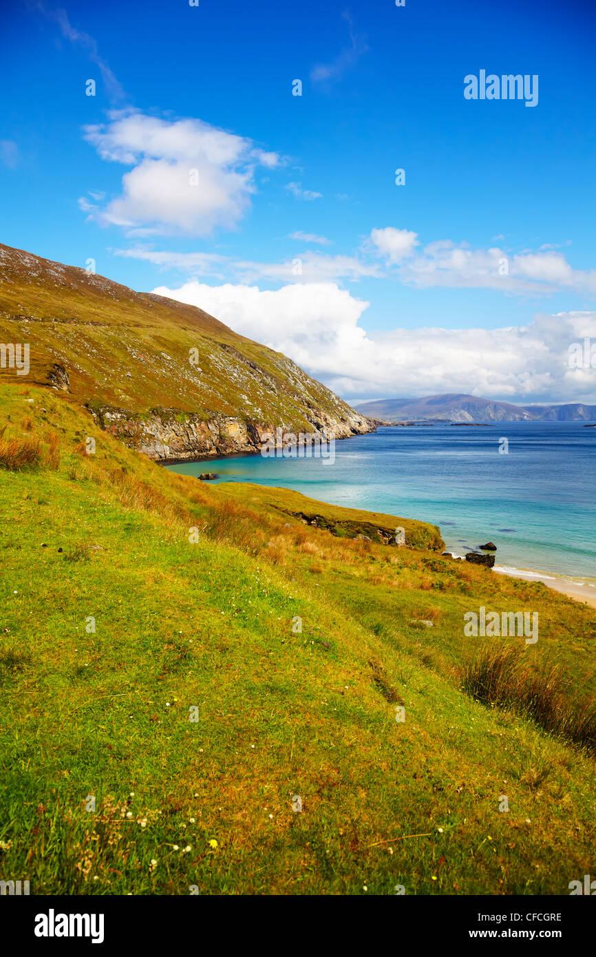Coast at Keem Bay on Achill Island, in summer, Ireland. Stock Photo