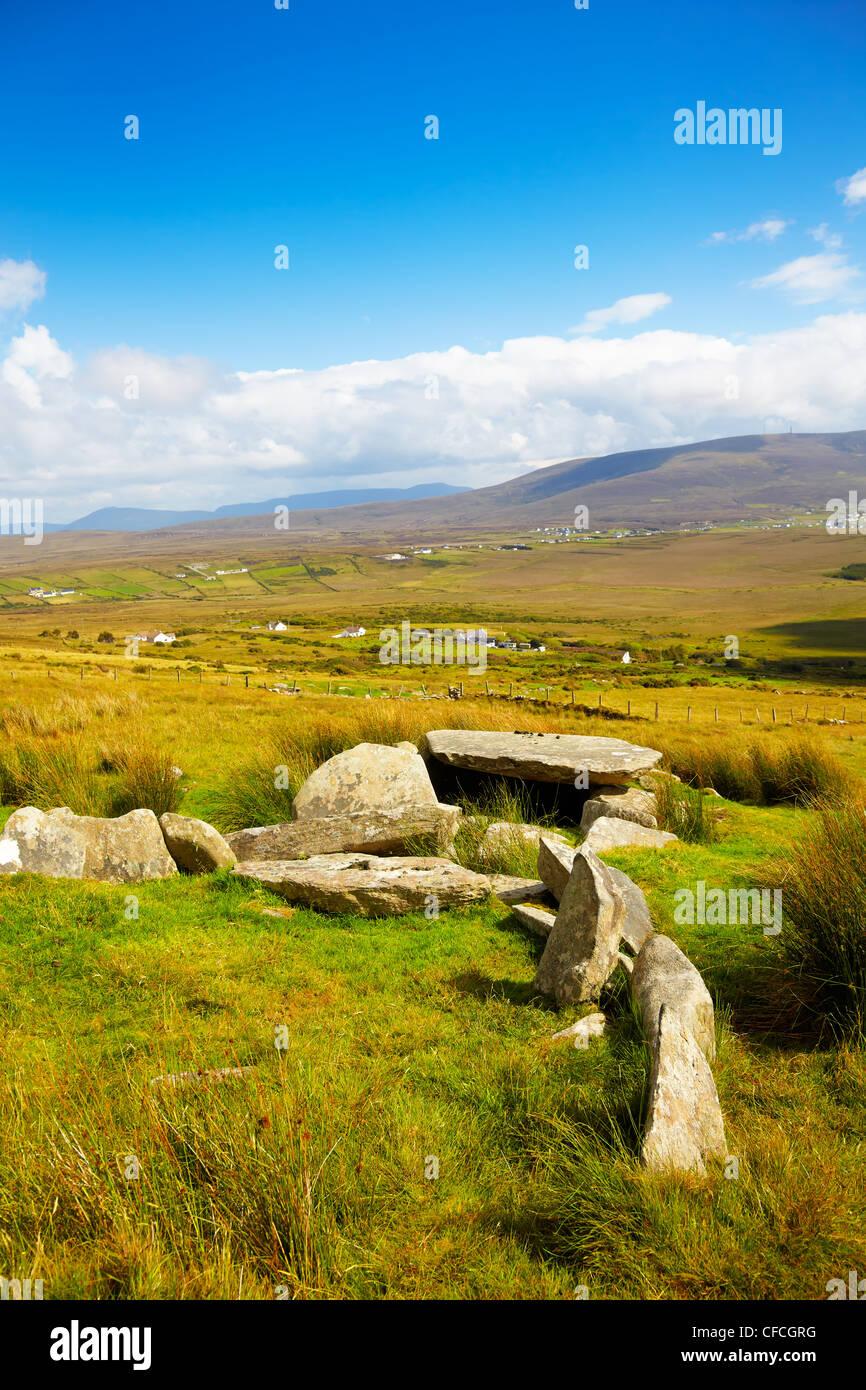 Slievemore dolmen in summer season on Achill Island, Ireland. - Stock Image