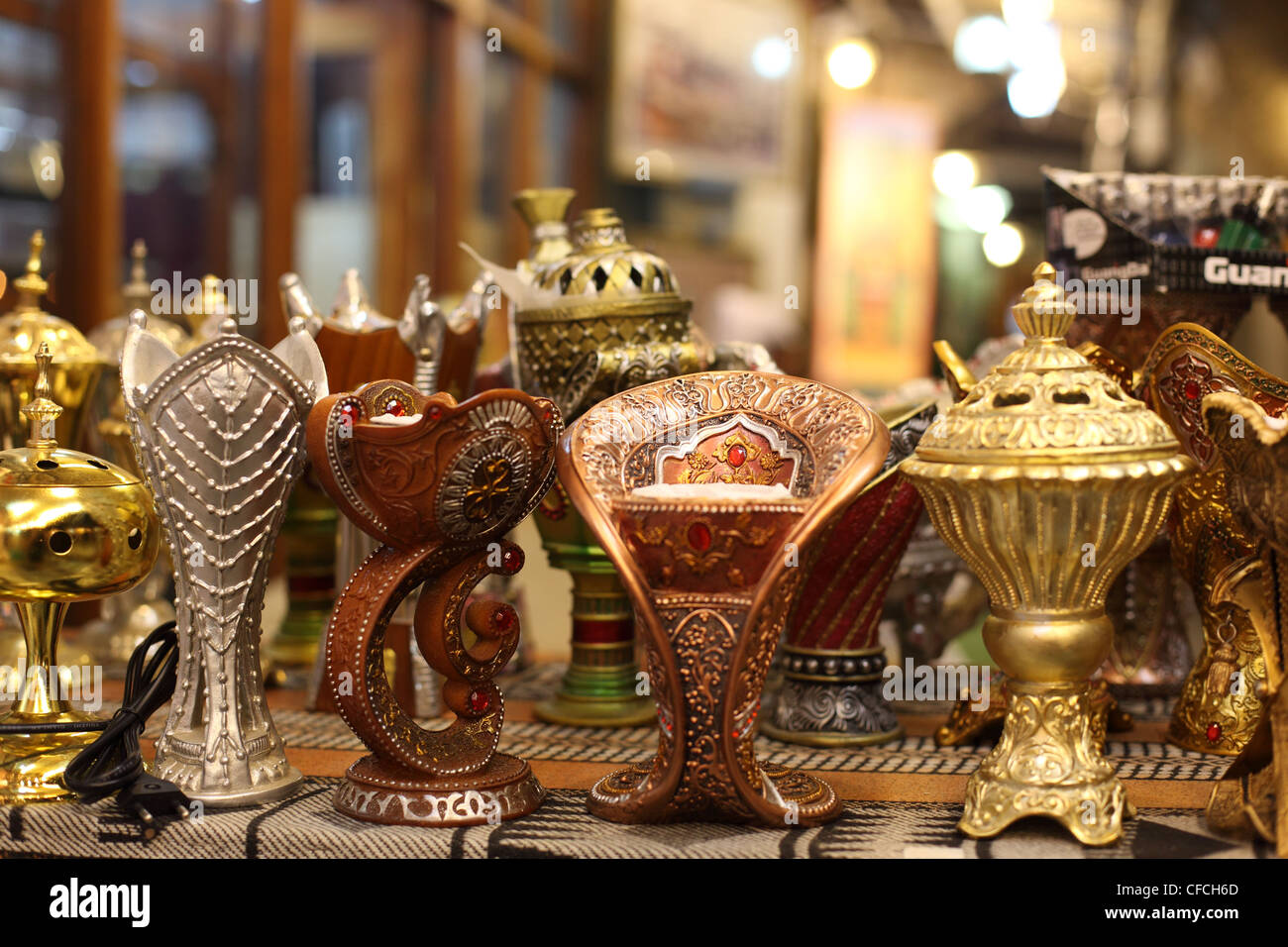 Traditional Arabic incense burner in Doha, Qatar - Stock Image