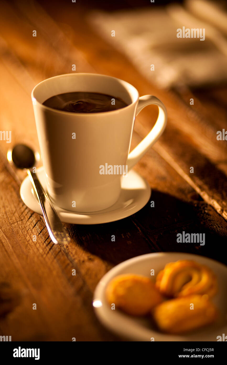Hot Chocolate with Cookies - Stock Image