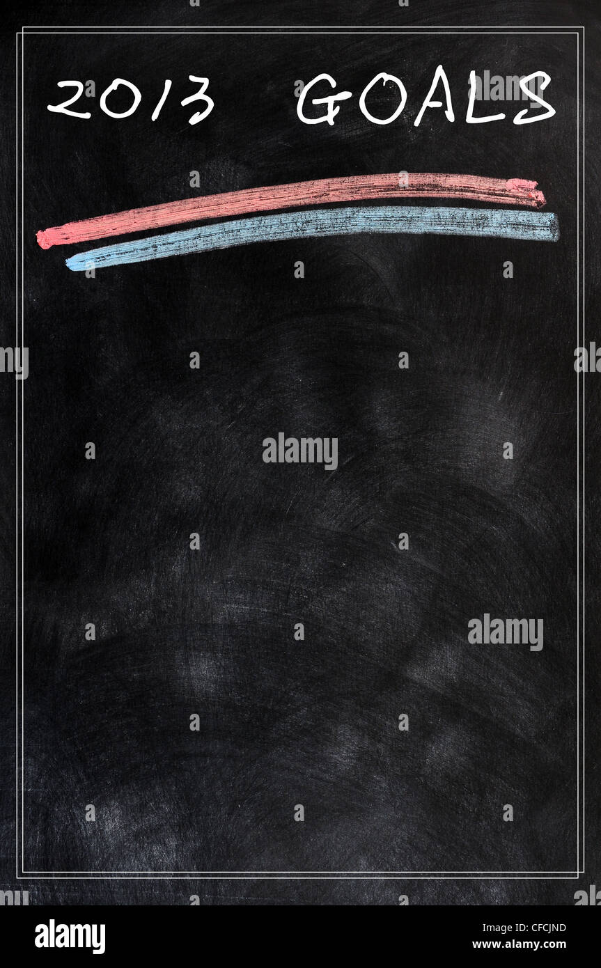 2013 goals background on a blackboard - Stock Image