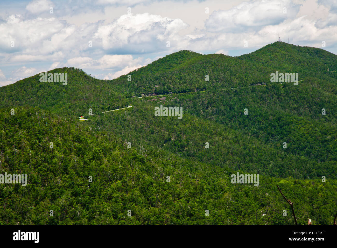 The Great Smoky Mountains viewed from the Blue Ridge Parkway in western North Carolina in early summer. Stock Photo