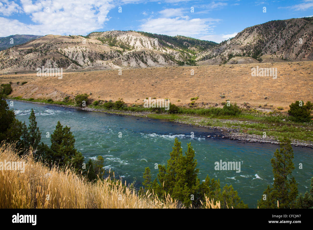 Yellowstone River along scenic highway US 89 - Stock Image