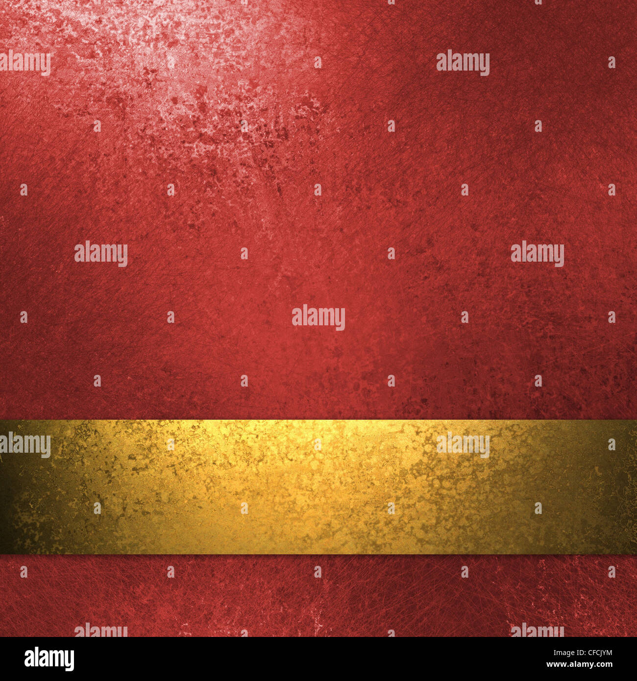 elegant red background with gold ribbon, grunge texture, and copy space - Stock Image