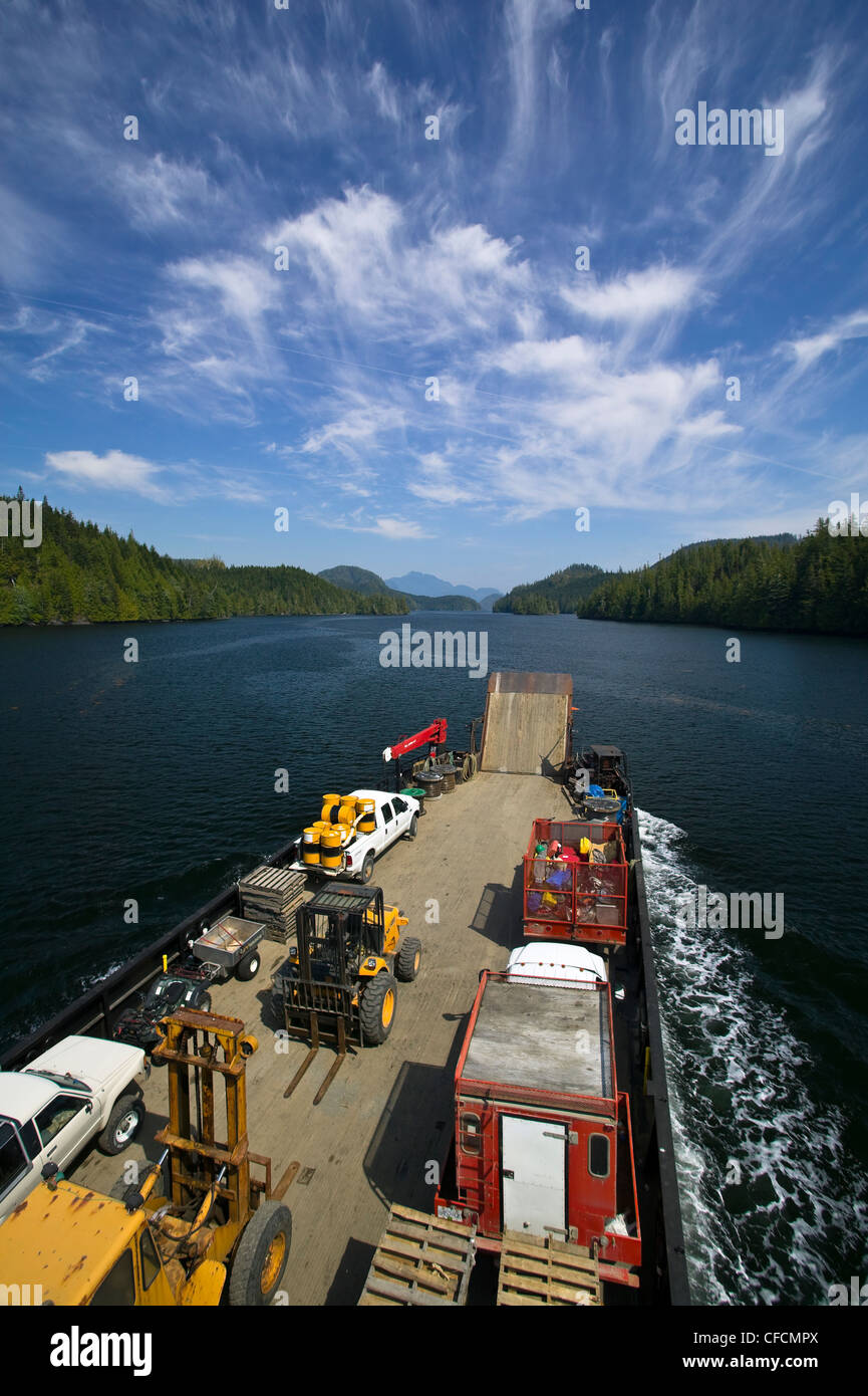 The AurorExplorer 135 ft landing barge plies - Stock Image
