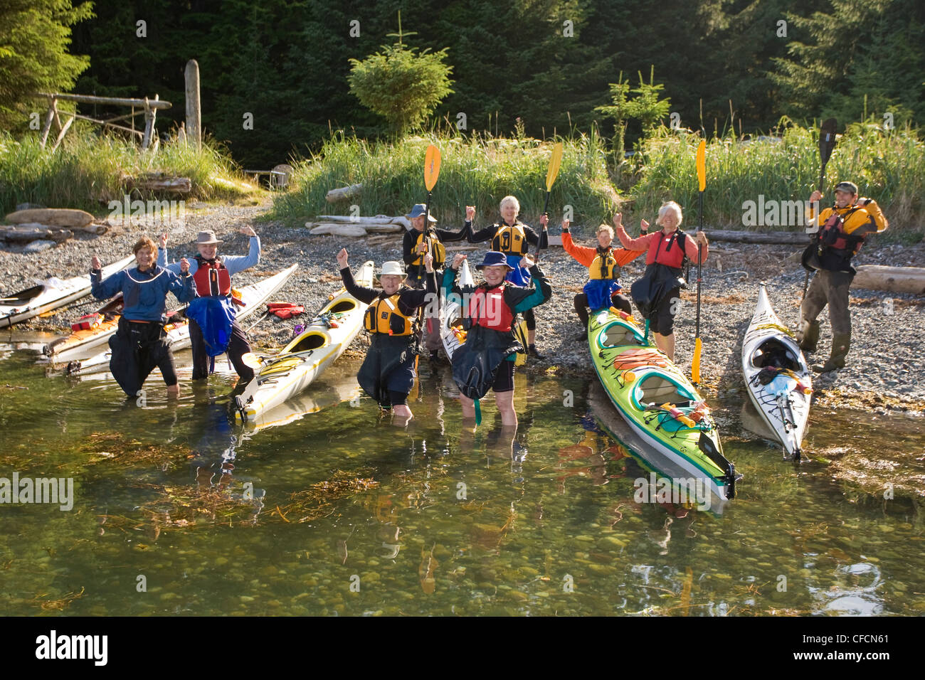 group senior women celebrates day paddling West - Stock Image