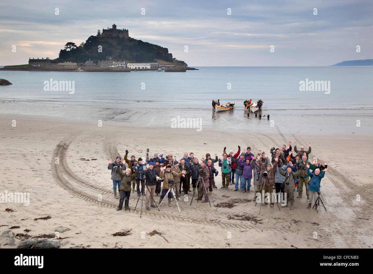 Photographic Group outing at Marazion; St Michael's Mount; Cornwall; UK - Stock Image