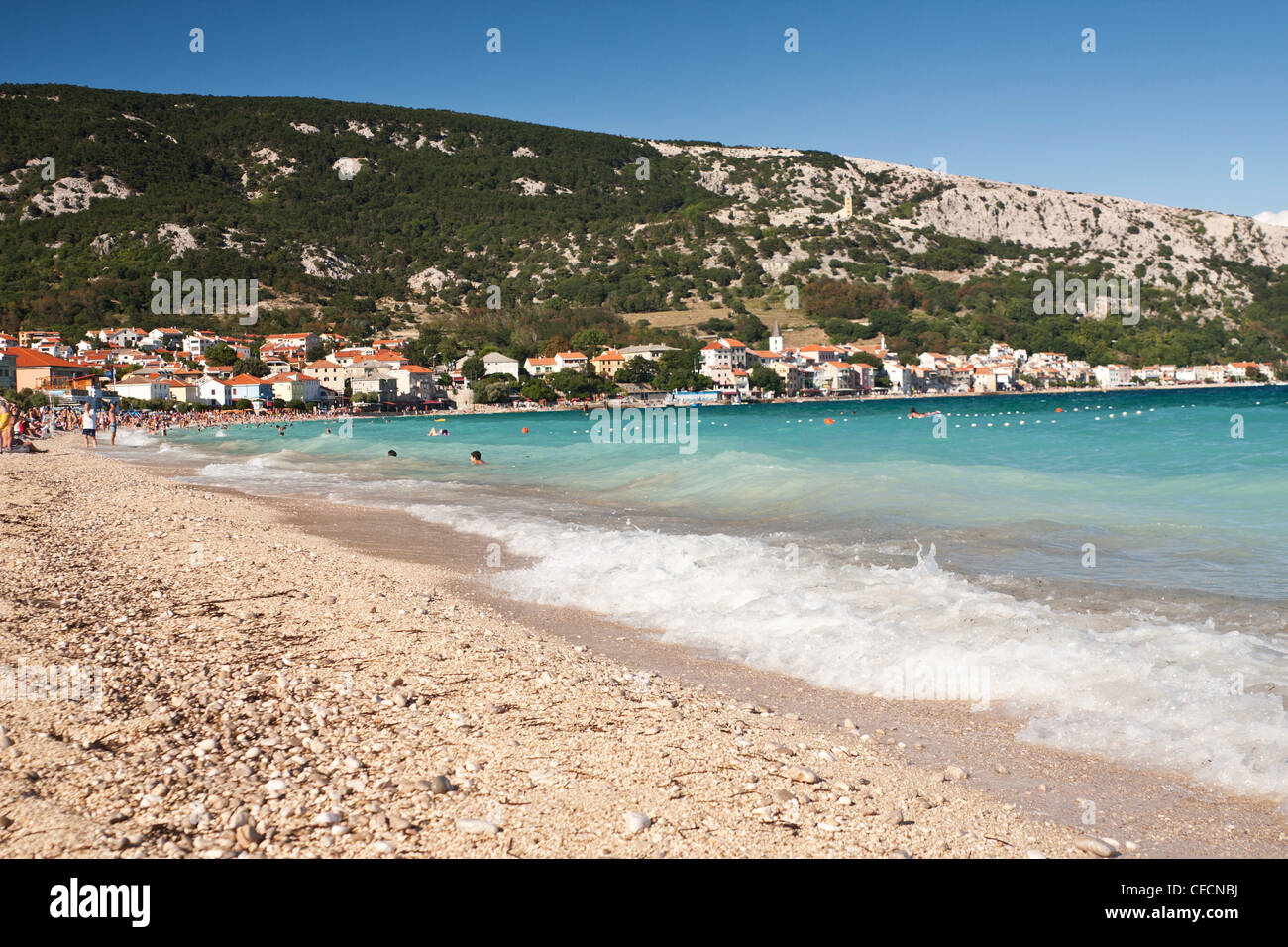 the beach in Baska - Croatia - Stock Image